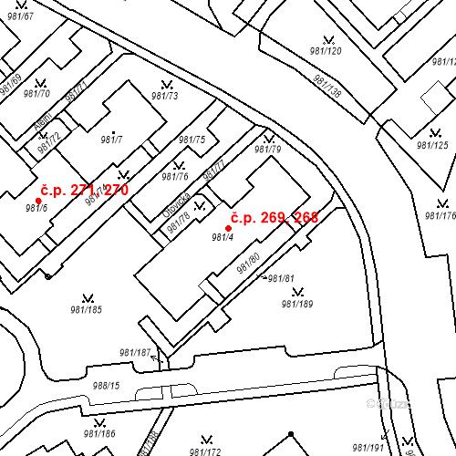 Katastrální mapa Stavební objekt Chlumec 268, 269, Chlumec