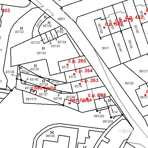Katastrální mapa Stavební objekt Chlumec 264, Chlumec