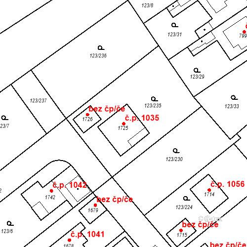 Katastrální mapa Stavební objekt Rozdělov 1035, Kladno