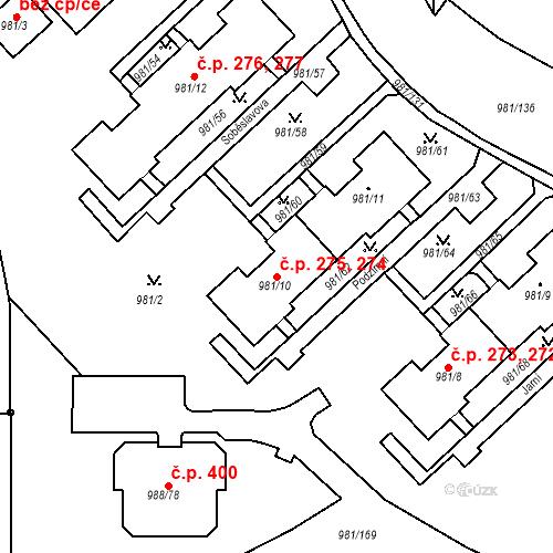 Katastrální mapa Stavební objekt Chlumec 274, 275, Chlumec