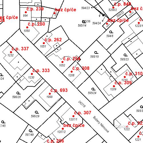 Katastrální mapa Stavební objekt Beroun-Závodí 308, Beroun