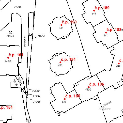 Katastrální mapa Stavební objekt Domoradice 191, Český Krumlov