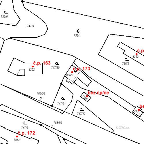 Katastrální mapa Stavební objekt Latrán 173, Český Krumlov