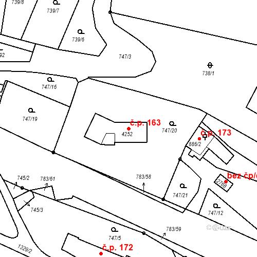 Katastrální mapa Stavební objekt Latrán 163, Český Krumlov
