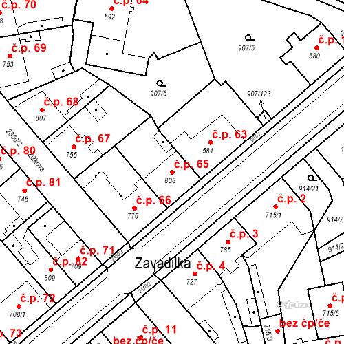 Katastrální mapa Stavební objekt Beroun-Zavadilka 65, Beroun