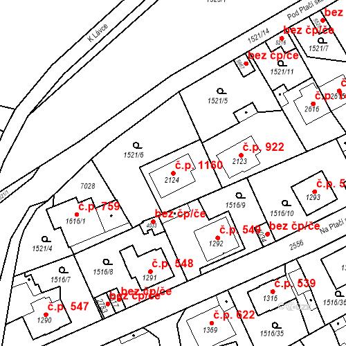 Katastrální mapa Stavební objekt Beroun-Město 1160, Beroun