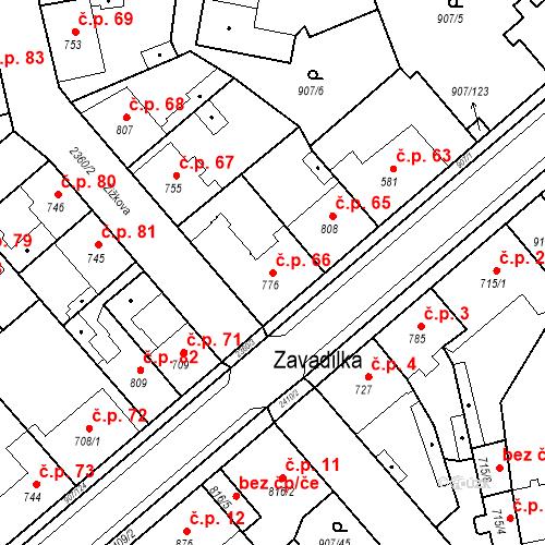 Katastrální mapa Stavební objekt Beroun-Zavadilka 66, Beroun
