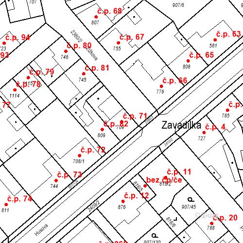 Katastrální mapa Stavební objekt Beroun-Zavadilka 71, Beroun