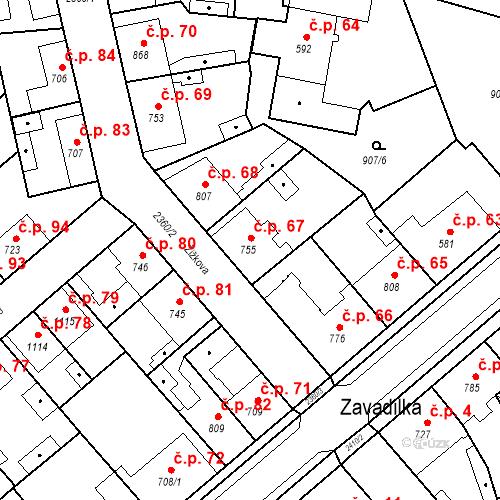 Katastrální mapa Stavební objekt Beroun-Zavadilka 67, Beroun