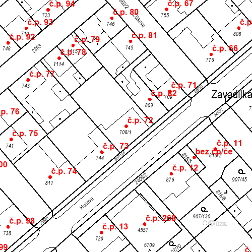 Katastrální mapa Stavební objekt Beroun-Zavadilka 72, Beroun