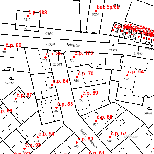 Katastrální mapa Stavební objekt Beroun-Zavadilka 70, Beroun