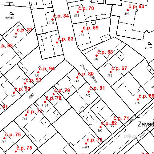 Katastrální mapa Stavební objekt Beroun-Zavadilka 80, Beroun
