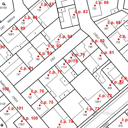 Katastrální mapa Stavební objekt Beroun-Zavadilka 78, Beroun
