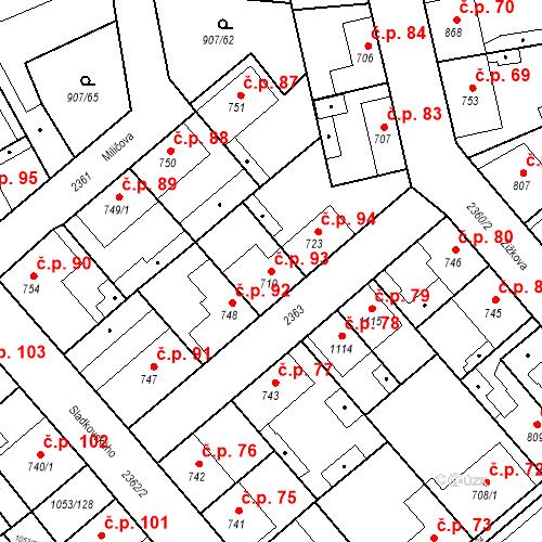 Katastrální mapa Stavební objekt Beroun-Zavadilka 93, Beroun