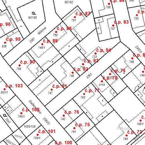 Katastrální mapa Stavební objekt Beroun-Zavadilka 92, Beroun