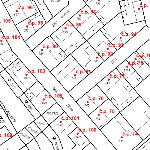 Katastrální mapa Stavební objekt Beroun-Zavadilka 91, Beroun