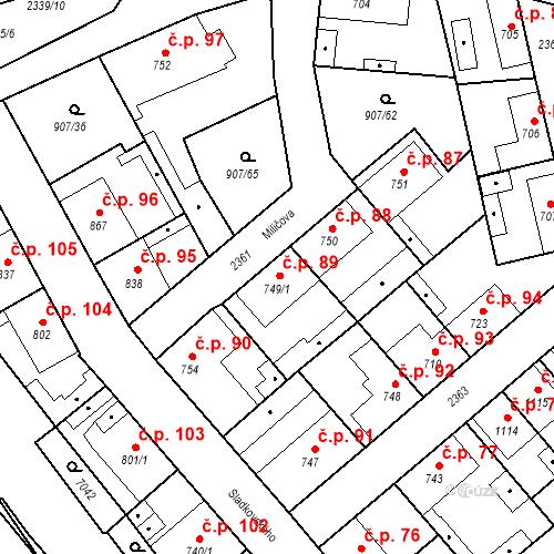 Katastrální mapa Stavební objekt Beroun-Zavadilka 89, Beroun