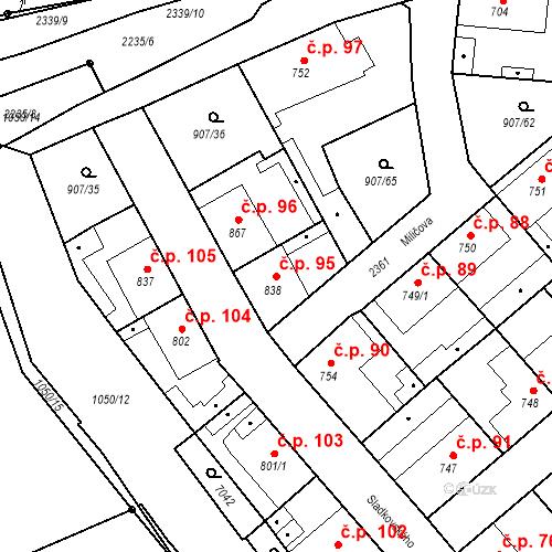 Katastrální mapa Stavební objekt Beroun-Zavadilka 95, Beroun