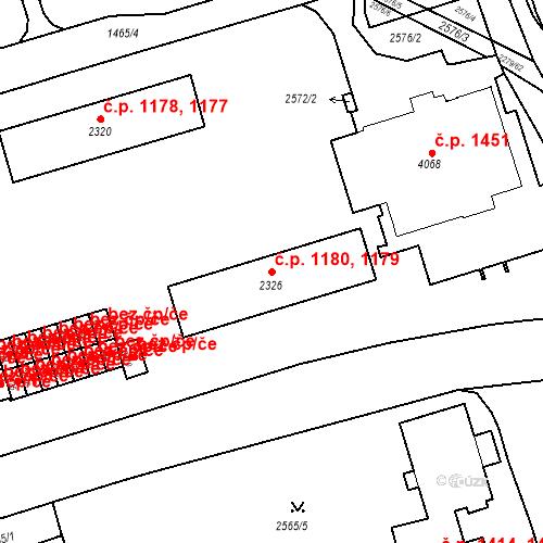 Katastrální mapa Stavební objekt Beroun-Město 1179, 1180, Beroun