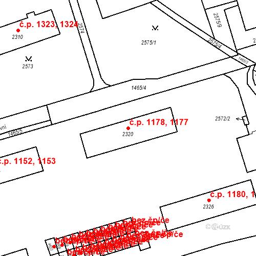 Katastrální mapa Stavební objekt Beroun-Město 1177, 1178, Beroun