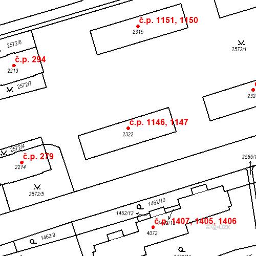 Katastrální mapa Stavební objekt Beroun-Město 1146, 1147, Beroun