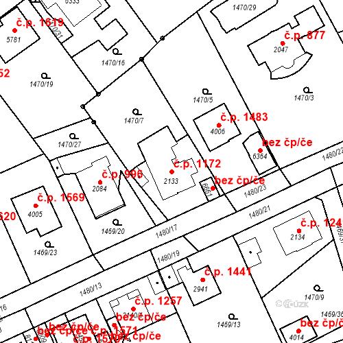 Katastrální mapa Stavební objekt Beroun-Město 1172, Beroun