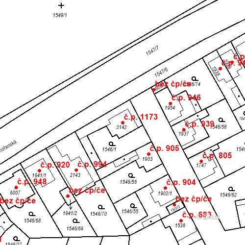 Katastrální mapa Stavební objekt Beroun-Město 1173, Beroun