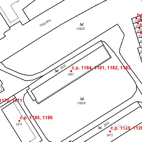 Katastrální mapa Stavební objekt Beroun-Město 1181, 1182, 1183, 1184, Beroun