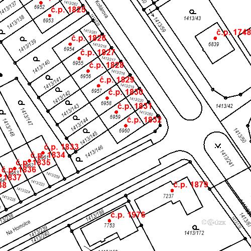 Katastrální mapa Stavební objekt Beroun-Město 1832, Beroun