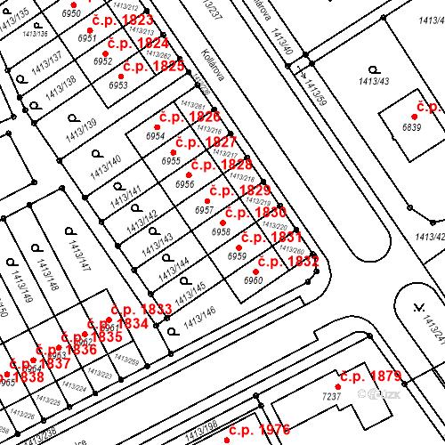 Katastrální mapa Stavební objekt Beroun-Město 1830, Beroun