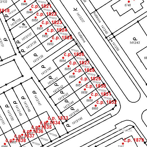Katastrální mapa Stavební objekt Beroun-Město 1828, Beroun