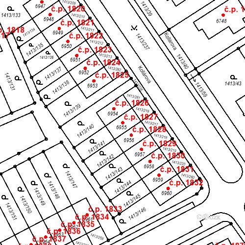 Katastrální mapa Stavební objekt Beroun-Město 1827, Beroun