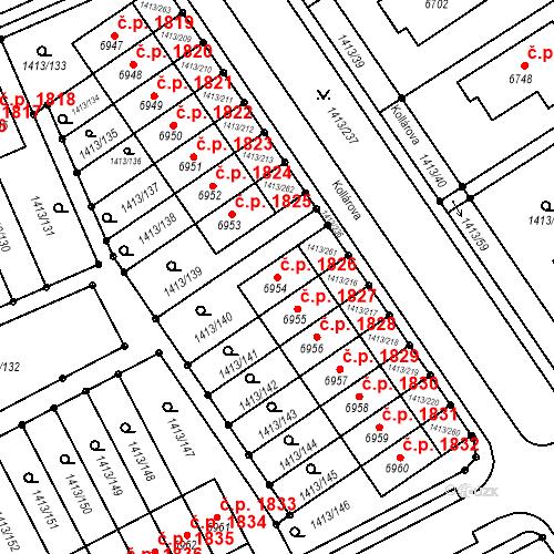 Katastrální mapa Stavební objekt Beroun-Město 1826, Beroun