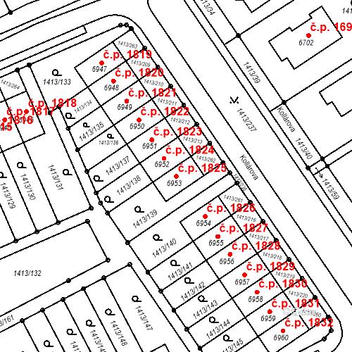 Katastrální mapa Stavební objekt Beroun-Město 1825, Beroun