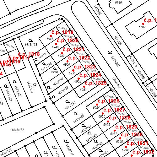 Katastrální mapa Stavební objekt Beroun-Město 1824, Beroun