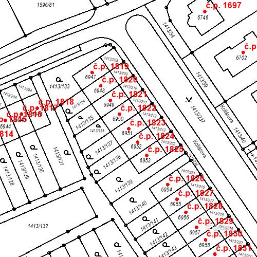 Katastrální mapa Stavební objekt Beroun-Město 1823, Beroun