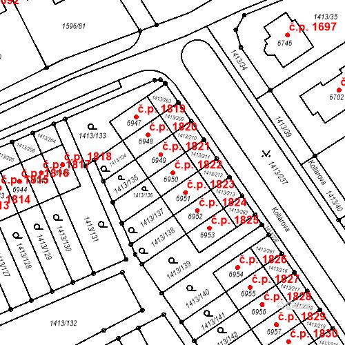 Katastrální mapa Stavební objekt Beroun-Město 1822, Beroun