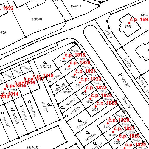 Katastrální mapa Stavební objekt Beroun-Město 1821, Beroun