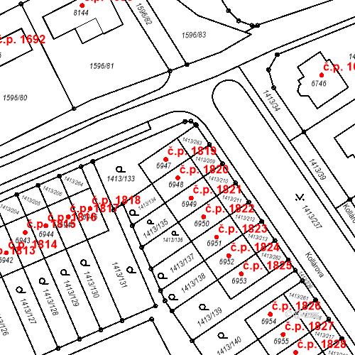 Katastrální mapa Stavební objekt Beroun-Město 1820, Beroun