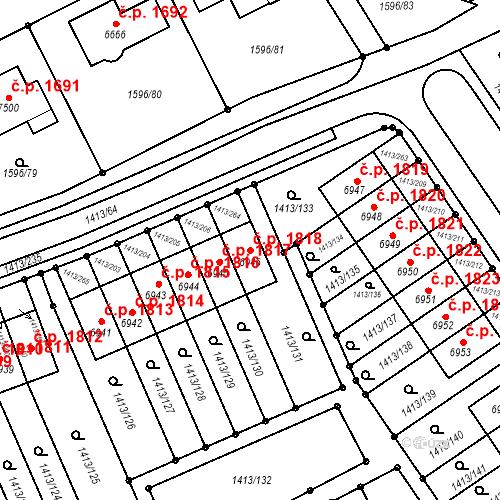 Katastrální mapa Stavební objekt Beroun-Město 1818, Beroun