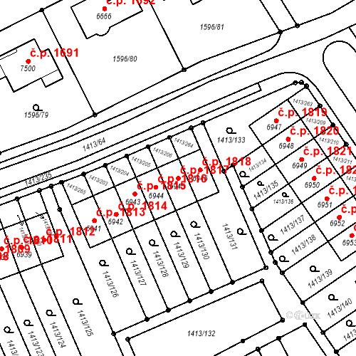 Katastrální mapa Stavební objekt Beroun-Město 1817, Beroun