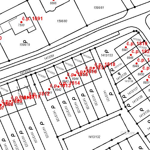 Katastrální mapa Stavební objekt Beroun-Město 1816, Beroun