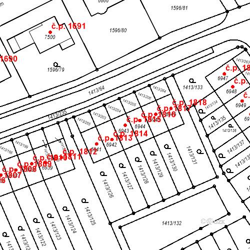 Katastrální mapa Stavební objekt Beroun-Město 1815, Beroun