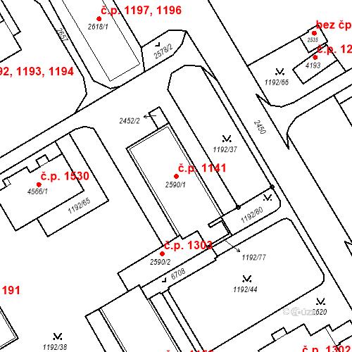 Katastrální mapa Stavební objekt Beroun-Město 1141, Beroun