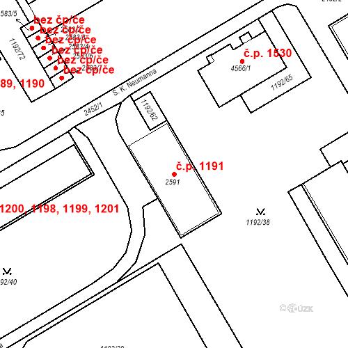 Katastrální mapa Stavební objekt Beroun-Město 1191, Beroun