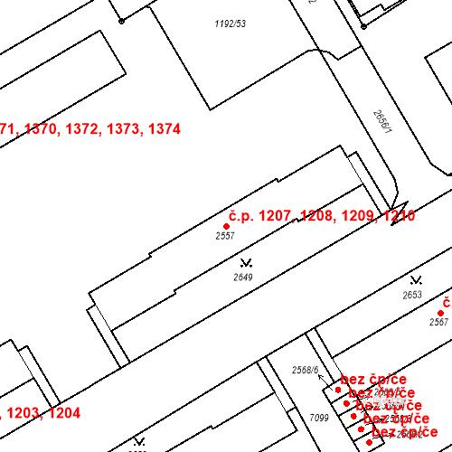 Katastrální mapa Stavební objekt Beroun-Město 1207, 1208, 1209, 1210, Beroun