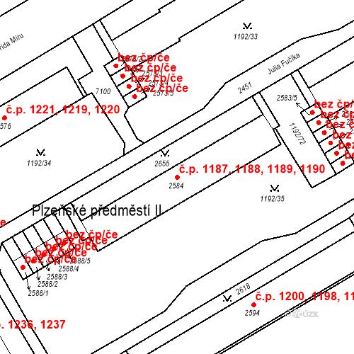 Katastrální mapa Stavební objekt Beroun-Město 1187, 1188, 1189, 1190, Beroun