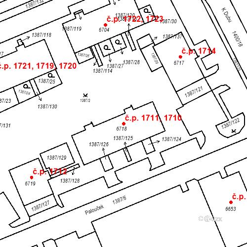 Katastrální mapa Stavební objekt Beroun-Město 1710, 1711, Beroun