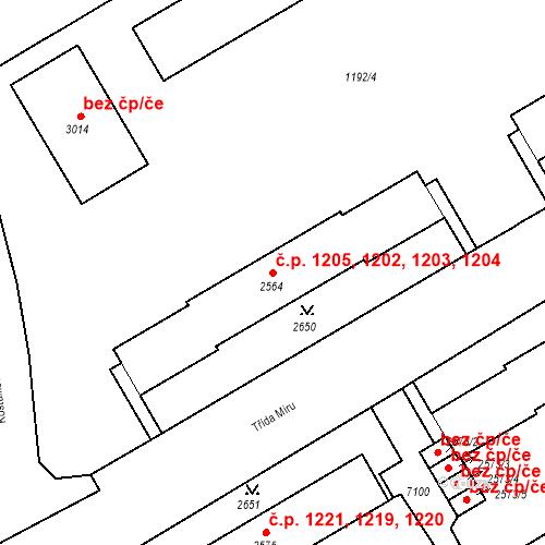Katastrální mapa Stavební objekt Beroun-Město 1202, 1203, 1204, 1205, Beroun