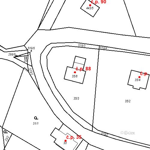 Katastrální mapa Stavební objekt Beroun-Zdejcina 88, Beroun